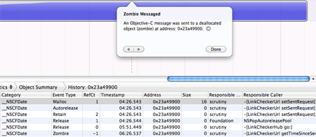 Tracking down zombies in objective C applications